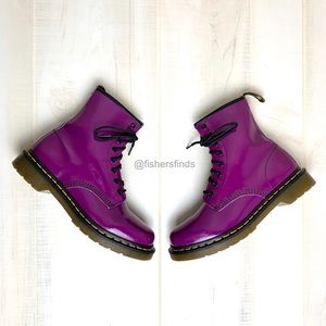 Dr. Martens 1460 Patent Leather Purple Boot Size 9